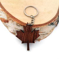 Wooden Canadian Maple Leaf Keychain, Walnut Wood, Canada Keychain, Environmental Friendly Green materials