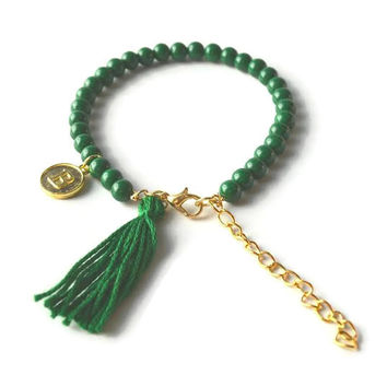 Green Initial Bracelet, Green Beaded Bracelet with Green Tassel and Gold Initial Charm, Gold Charm Bracelet, Green and Gold Bracelet