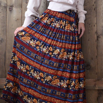 vintage 80s 90s floral maxi broom skirt / made in India / medium large xlarge