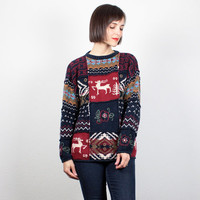 Vintage Heavy Christmas Sweater Chunky Knit Hand Knit Jumper Moose Reindeer Xmas Sweater Boho Holiday Jumper Cozy Pullover M Medium L Large