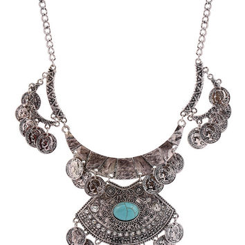 Silver Plated Turquoise Embellished Coin Necklace