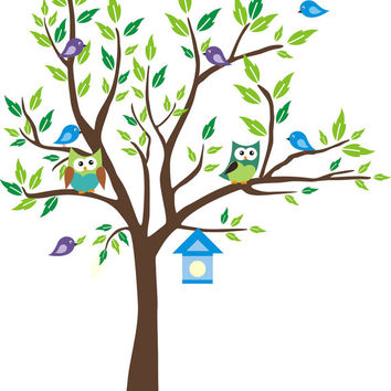 "Forest Tree Wall Decals, Nursery Wall Decals, Blue Toned Colors, Blue Birdhouse Decal, Woodland Animal Wall Mural for Nursery - 80"" x 58"""