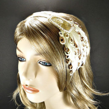 Gold Great Gatsby Headpiece 1920s Flapper Headband Wedding Party Downtown Abbey Beaded Fascinator with Cream Brown Feathers Champagne Ribbon