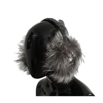Dolce & Gabbana Gray Fox Fur Crystal Ear Muffs
