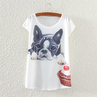 White Short Sleeve Sad Dog Print T-Shirt