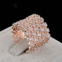 Pipitree Luxury Wide Micro Pave Cubic Zirconia Wedding Rings Jewelry Rose Gold Color Female Rings for Women Party Accessories