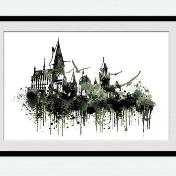 Hogwarts castle poster, Harry Potter, Hogwatrs illustration, home decoration, gift print, nursery, kids room, wall art poster, W101