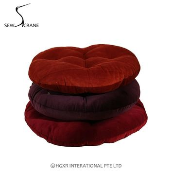 SewCrane Burgundy Solid Color Purple Pink Orange  Velvet Japanese Seating Functional Cushion Round Floor Cushion Floor Pillow