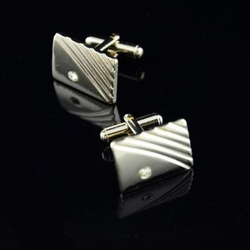 Diamond Stripes Cufflinks Suit Lapel Mens Wedding Party Gift Cuff Link