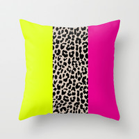 Leopard National Flag X Throw Pillow by M Studio