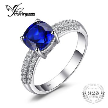 JewelryPalace Brand Cushion 2.6ct Created Blue Sapphire Engagement Rings For Women Gift Genuine 925 Sterling Silver Fine Jewelry