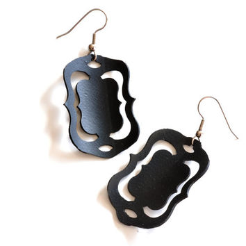 Fancy Rectangle upcycled inner tube earrings, elegant recycled black rubber jewelry made from bicycle tire inner tube, unique black earrings