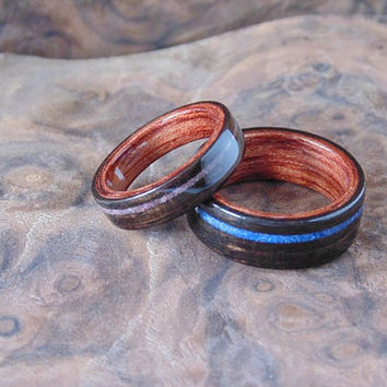 Ebony Wood Wedding Bands bubinga liner, lazuli and jade inlays