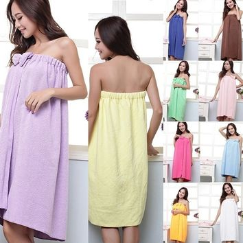 Women Absorbent Microfiber Bath Robe Shower Body SPA Bath Wrap Towel