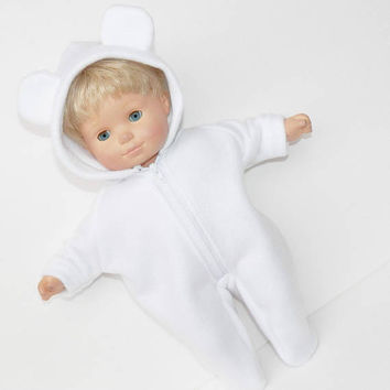 bitty baby doll clothes 15 inch twin girl or boy, Polar Bear Costume, Halloween, Winter, with ears, fleece adorabledolldesigns american made