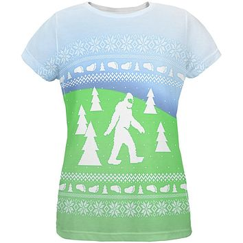Ugly Christmas Sweater Bigfoot Sasquatch Yeti All Over Womens T Shirt