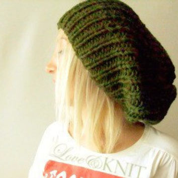 Army Green Slouchy Hat - Womens Knit Hat- Beanie
