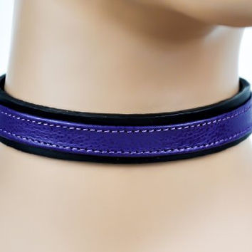 Purple Strap Choker Gothic Fetish Black Leather Collar