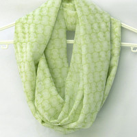 Light Green Infinity Scarf. Circle Scarf. Tube Scarf. Loop Scarf. Women Accessories.