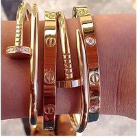 Cartier Fashion Trending Casual Nail Bracelet Nail Golden G