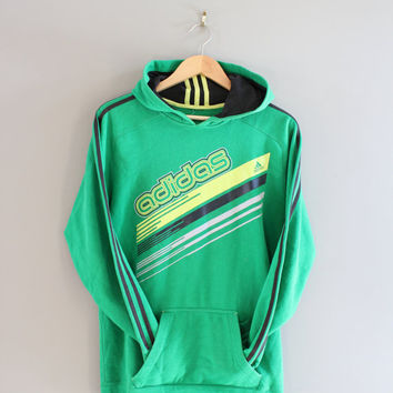 Adidas Hoodie Retro Green 3 Stripes Sweatshirt Fleece Lining Cotton Pullover Loose-fit Vintage Retro 90s Sweater Size M - L