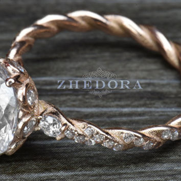Solid Rose Gold Oval Cut Engagement Ring , Vintage Engagement Ring, Flower Ring by Zhedora, Oval Ring, Cable Band Ring, Moissanite Oval Ring