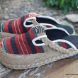 Sydney Womens Slide Shoes in Striped Naga Textiles