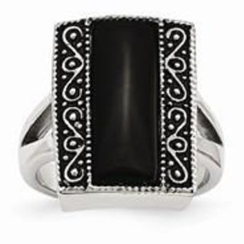 Stainless Steel Black Onyx Antiqued Rectangular Ring