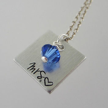 """Hand Stamped """"Mrs."""" and Heart Necklace with Swarovski Crystal Pearl or Crystal Birthstone / """"Mrs."""" Pendant / Hand Stamped Wedding Jewelry"""
