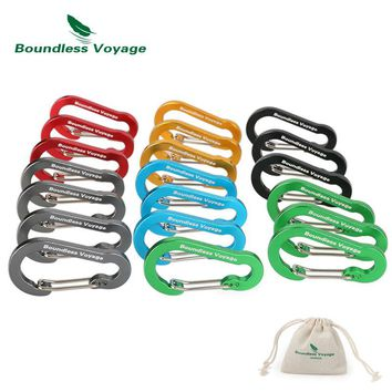 Boundless Voyage Outdoor Camping Multi-function Buckle Key Aluminum Alloy  Climbing Carabiner Chain Backpack Hook BV1011