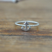 Sterling Silver Anchor Ring / Nautical Ring / Rope Anchor Ring / Tiny Anchor Ring 925