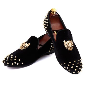 Branded Flat Shoes Rivets Black Men Velvet Loafers