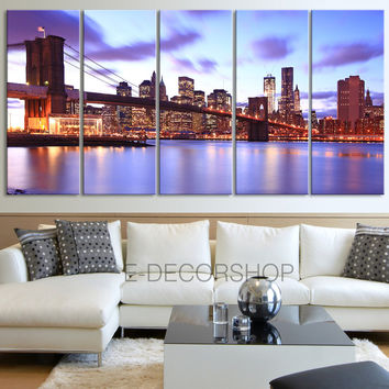 Manhattan (New York) Landscape Large Canvas Art Print for Home Decoration, Brooklyn Bridge Ready Hanging, Landscape Canvas Prints