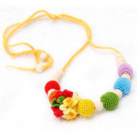 Colorful Rainbow Nursing necklae - Necklace for Mom - Teething necklace