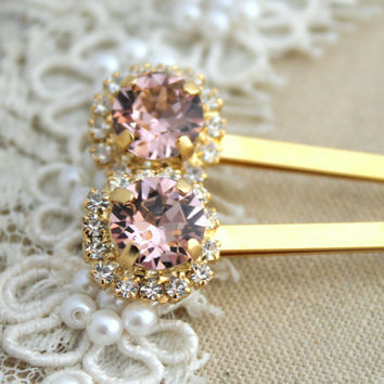 Vintage Pink blush light peach Bridal Bobby pins Swarovski crystal Rhinestone hair accessories - 14k Gold plated aqua pink crystals
