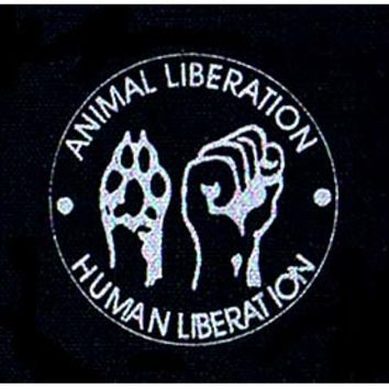 Animal Liberation, Human Liberation cloth patch (cp846)
