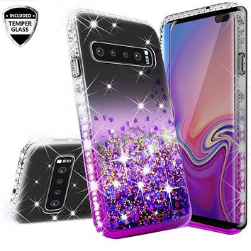 Samsung Galaxy S10E Case Liquid Glitter Phone Case Waterfall Floating Quicksand Bling Sparkle Cute Protective Girls Women Cover for Galaxy S10E - Purple