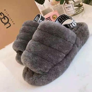 Hight Quality UGG Slippers New Women's Fashion Fluff Yeah Slipper Slide