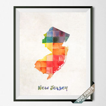 New Jersey, Map, Print, Atlantic City, USA, Poster, Watercolor, Painting, Home Town, Dorm Room, Art, States, Decor, Watercolour [NO 30]