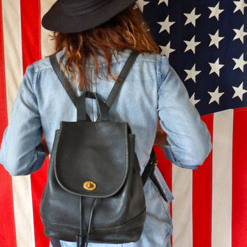 Vintage Coach Mini Backpack // Aunthentic Genuine Black Leather Bag // 90's