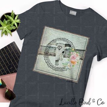 Bullhead Cow Skull Ranch Graphic Tee