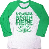 Shenanigans Begin Here Shirt. Shenanigans shirt. Funny Mens Irish t-shirt. St Patricks day shirt. Womens Baseball shirt. St Paddys tee shirt