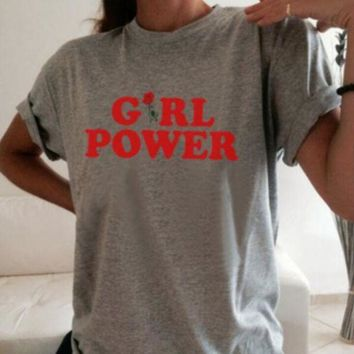 """Summer """"GIRL POWER"""" Letter Print Short Sleeve T-Shirt Casual Loose Top Grey"""