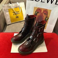 Dr.Martens  Trending Men Women Black Leather Side Zip Lace-up Ankle Boots Shoes High Boots