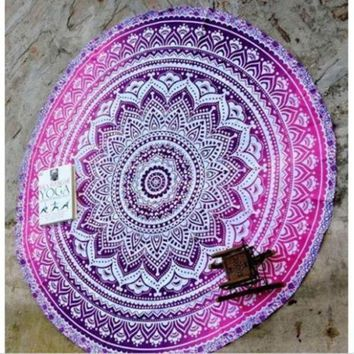 2016 New Indian Round Mandala Tapestry Wall Hanging Throw Towel Beach Yoga Mat  Beach Cover Up