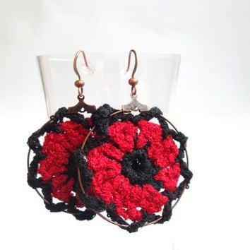 Red Poppy Earrings, Black and Red Crochet Hoops, Boucle Yarn Hoops, Thread Earrings, Hippie Accessories, Boho Chic Earrings, Fabric Earrings
