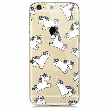 Rainbow Unicorn Soft Case for iPhone 5 5s 6 6s Fun