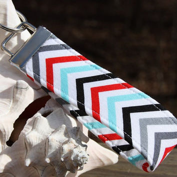 New - Wristlet Key Fob - Keylette - Fabric Keychain -  Mini Chevron Turquoise and Red