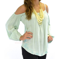 Monet Sage Open Shoulder Embroidered Top