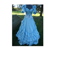 Dress Antebellum Civil War production Gown Victorian masquerade Fairy tale style gown Belle Bo Peep Blue